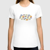 Fish Pattern Womens Fitted Tee White SMALL