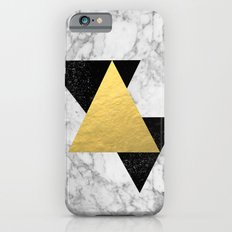 Marble Tri Black & Gold - gold foil, gold, marble, black and white, trendy, luxe, gold phone iPhone 6 Slim Case