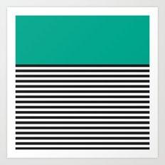 STRIPE COLORBLOCK {EMERALD GREEN} Art Print