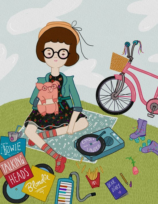 listening to old records Art Print