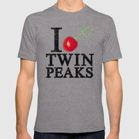 I Love Twin Peaks (Cherr… Mens Fitted Tee Tri-Grey SMALL