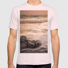 Ocean Sunset Mens Fitted Tee Light Pink SMALL