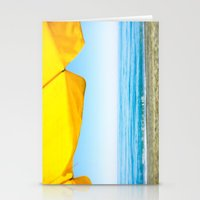 Yellow Beach Brolly with Blue Sea and Sky Stationery Cards
