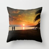 Sunset over Mytilene Throw Pillow