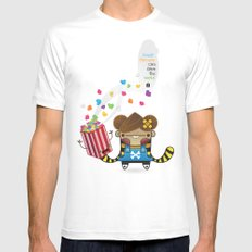 PopCorn can save the world SMALL White Mens Fitted Tee