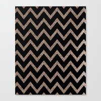 Black And Gold Glitter C… Canvas Print