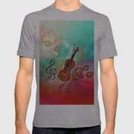 Violin With Violin Bow Mens Fitted Tee Athletic Grey SMALL