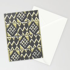 Grey and Beige Pattern Print Stationery Cards