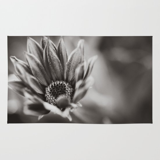 Flower in Black and White Area & Throw Rug