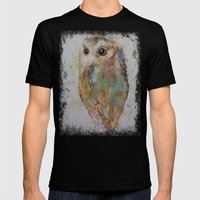 Owl Painting Mens Fitted Tee Black SMALL