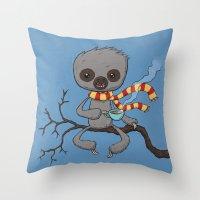 Sloth Drinking Tea Throw Pillow