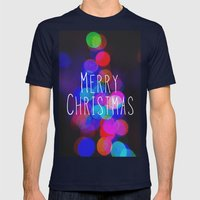 Merry Christmas Mens Fitted Tee Navy SMALL