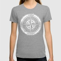 Compass Rose Womens Fitted Tee Tri-Grey SMALL