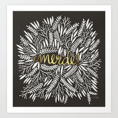 Pardon My French – Gold on Black Art Print
