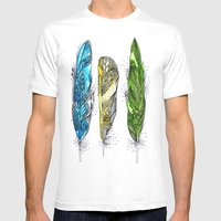 Dream Feathers Mens Fitted Tee White SMALL