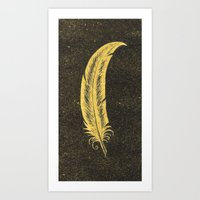 Yellow Feather Art Print