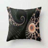 Elegant Black&Cream Frac… Throw Pillow