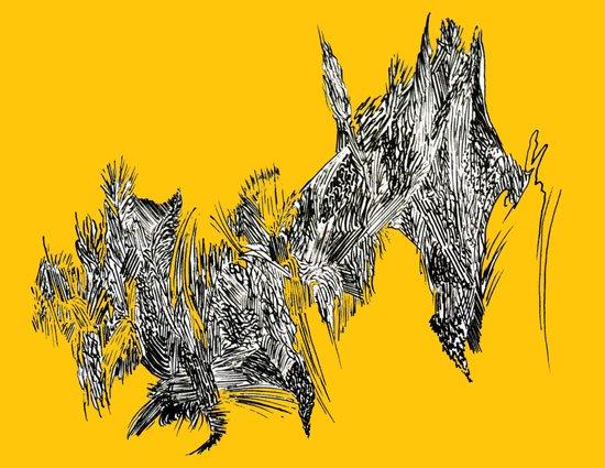 Waterfall in Yellow Art Print