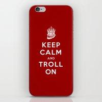 Keep Calm and Troll On (Troll, faces, Rage, meme, mashup) iPhone & iPod Skin