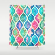 Shower Curtain featuring Watercolor Ogee Patchwor… by Micklyn