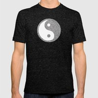 Black and white swirls doodles Mens Fitted Tee Tri-Black SMALL