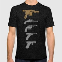 A long time ago with a blaster far, far away... Mens Fitted Tee Tri-Black SMALL