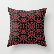 Red & Black Slavic Patterns Throw Pillow