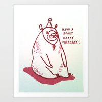 Have a Beary Happy Birthday! Art Print