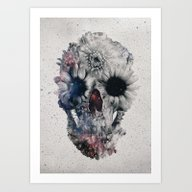 Art Print featuring Floral Skull 2 by Ali GULEC