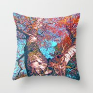 Throw Pillow featuring Big Birch In Autumn Ligh… by Die Farbenfluesterin