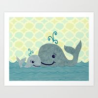 Whale Mom And Baby Art Print