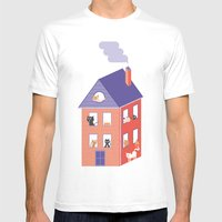 10 Housecats Mens Fitted Tee White SMALL