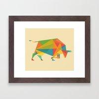 Fractal Geometric Bull Framed Art Print