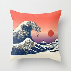 The Great Wave of English Bulldog Throw Pillow