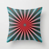 Rays In Turquoise And Pi… Throw Pillow