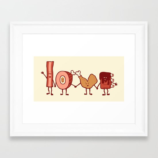 Meat Love U Framed Art Print