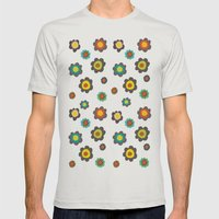 Flowers Mens Fitted Tee Silver SMALL