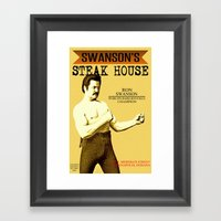 Ron Swanson  |  Steak House Parody |  Parks and Recreation Framed Art Print