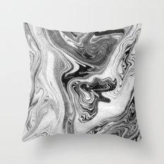 Mizuki - spilled ink marbling paper marble swirl abstract painting original art india ink minimal Throw Pillow