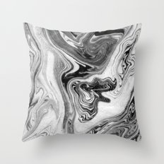 Mizuki - spilled ink marbling paper marble swirl abstract painting original art india ink minimal Throw Pillow