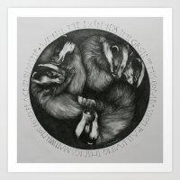 Sleeping Badgers Art Print
