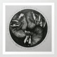 Sleeping Badgers Art Print