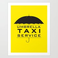 umbrella taxi service Art Print