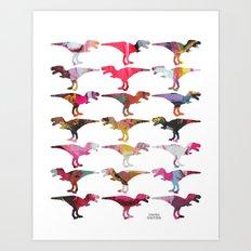 Dinomania Collage Oils Art Print