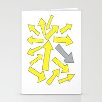 grey arrow on yellow Stationery Cards
