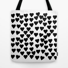 Hearts Black and White Tote Bag