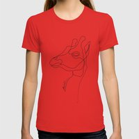 Giraffe Line Womens Fitted Tee Red SMALL