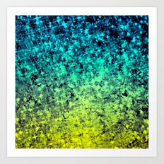 OMBRE LOVE Bold Beautiful Starry Night Glitter Abstract Painting Midnight Blue Mint Turquoise Yellow Art Print
