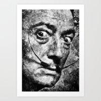 Dali's Eyes B&W Art Print