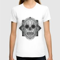White skull Womens Fitted Tee White SMALL